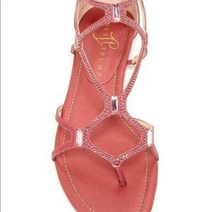 Crystal-encrusted fashion gladiator sandal.